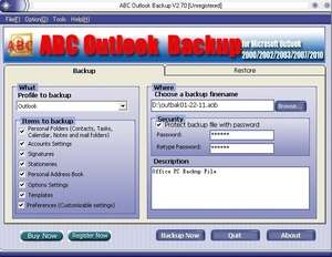 ABC Outlook Backup Screenshot