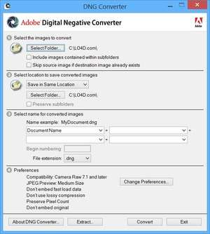 Image Conversion - Screenshot for Adobe DNG Converter
