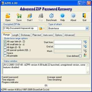 Advanced ZIP Password Recovery Screenshot