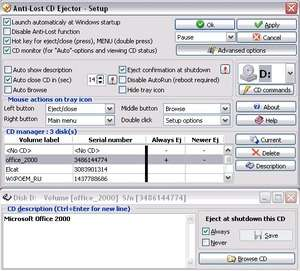 Computer Utilities - Screenshot for Anti-lost CD Ejector Lite