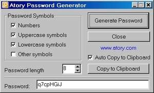 Atory Password Generator Screenshot