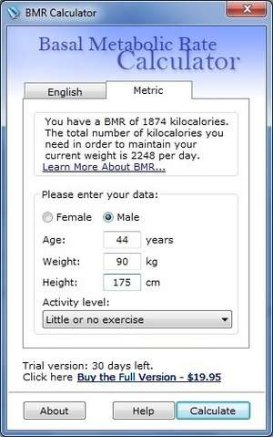 Basal Metabolic Rate Calculator Screenshot