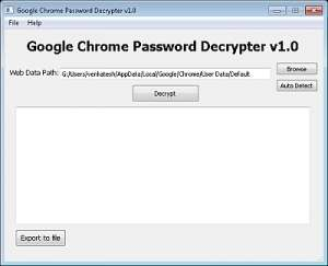 Chrome Password Decrypter Screenshot