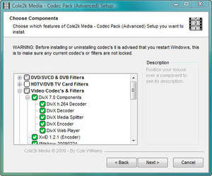 Video Codecs - Screenshot for Codec Pack - Advanced