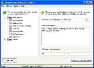Compact Outlook Express Backup Screenshot
