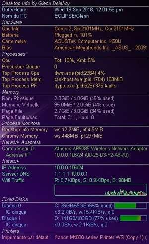 Desktop Info Screenshot