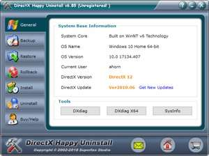 DirectX Happy Uninstall Screenshot