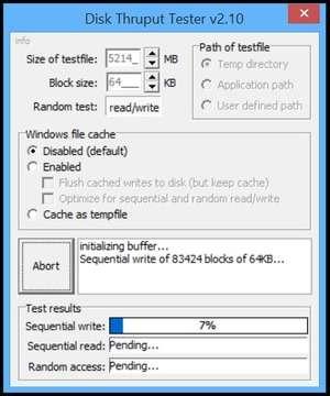 Disk Throughput Tester Screenshot