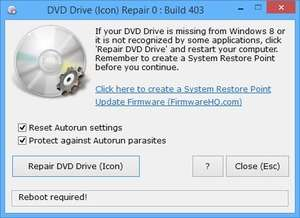 Windows Explorer Addons - Screenshot for DVD Drive Repair