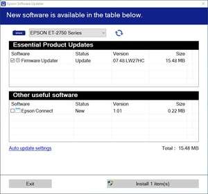 Epson Software Updater Screenshot