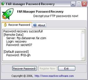 FAR Manager Password Recovery Screenshot