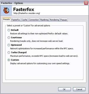 Firefox Addons - Screenshot for Fasterfox