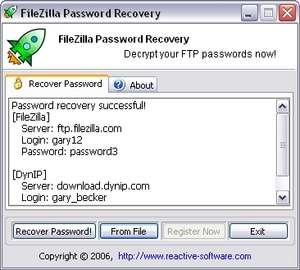 FileZilla Password Recover Screenshot