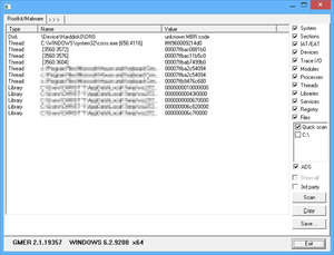 Rootkit Scanners and Removal Software - Screenshot for GMER