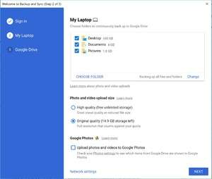 Google Backup and Sync Screenshot