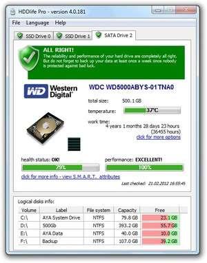 HDDlife for Notebooks Screenshot