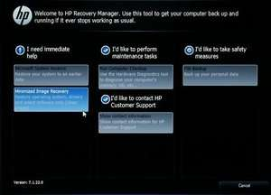 HP Recovery Manager Screenshot