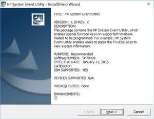 HP System Event Utility Screenshot