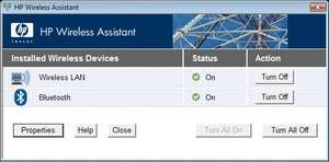HP Wireless Assistant Screenshot