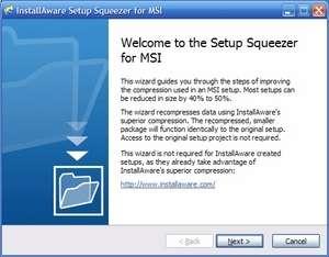 InstallAware Setup Squeezer for MSI Screenshot