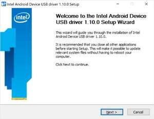 Intel Android device USB driver Screenshot