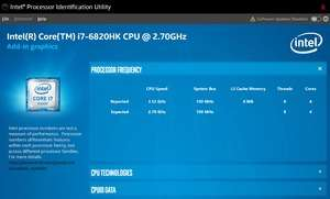 Intel Processor Identification Utility Screenshot