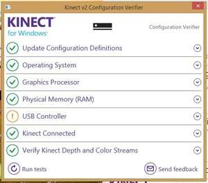 Kinect Configuration Verifier Screenshot
