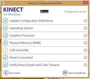 Kinect Configuration Verifier Screenshot