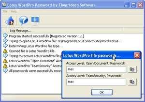 Lotus Word Pro Password Screenshot