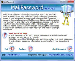 MailPassword Screenshot