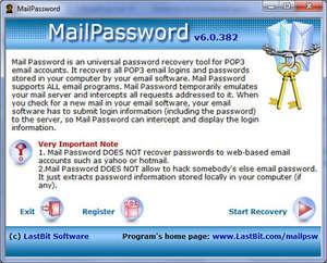 MailPassword Screenshot