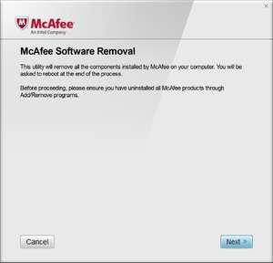 McAfee Consumer Product Removal Tool Screenshot