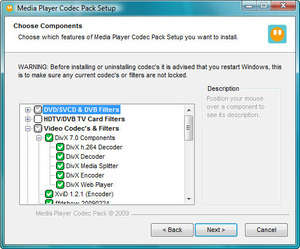 Video Codecs - Screenshot for Media Player Codec Pack