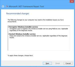 Microsoft .NET Framework Repair Tool Screenshot