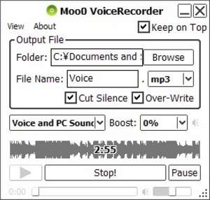 Audio Recorders - Screenshot for Moo0 Voice Recorder