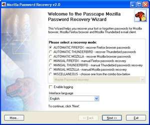 Mozilla Password Recovery Screenshot