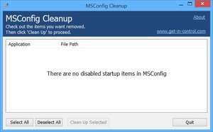 System Cleaners - Screenshot for MSConfig Cleanup