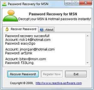 MSN Messenger Password Recovery Screenshot