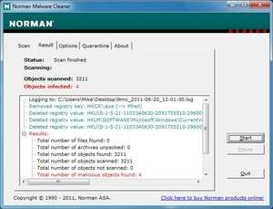 Spyware Removal - Screenshot for Norman Malware Cleaner