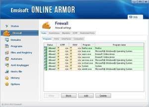 Firewalls - Screenshot for Online Armor Free