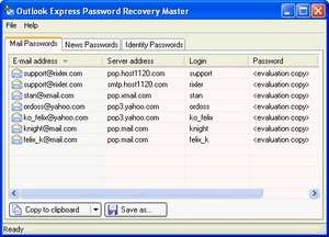 Outlook Express Password Revealer Screenshot