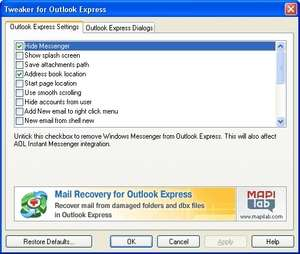 Email Tools - Screenshot for Outlook Express Tweaker