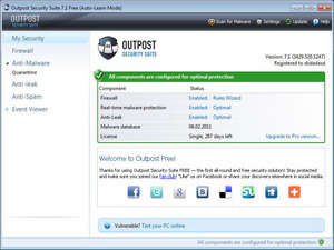Windows Security and Privacy - Screenshot for Outpost Security Suite Free Edition