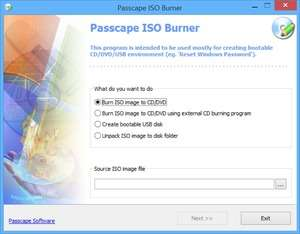 Passcape ISO Burner Screenshot