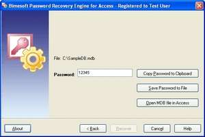 Password Recovery Engine for Access Screenshot