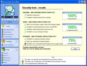 Antivirus Software - Screenshot for PC Security Test 2006