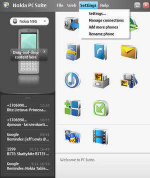 Nokia PC Suite Screenshot