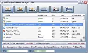 Process and Task Managers - Screenshot for Process Manager 2 Lite