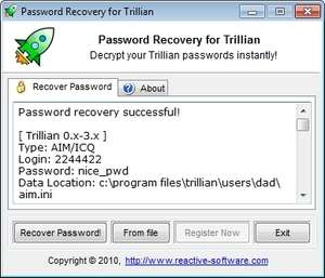 Recover Trillian Password Screenshot
