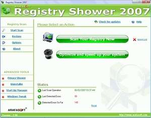 Registry Shower Screenshot